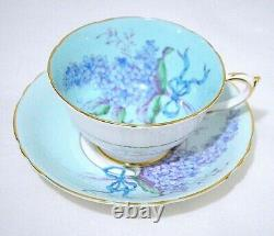Paragon Lilac Blue Bow on Light Blue Background Cup Saucer Set