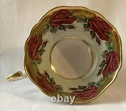 Paragon Mint Green Red Cabbage Rose Teacup & Saucer Gold Gilt