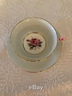Paragon Pale Green Rose Handle Cup & Saucer Gold Trim Double Warrant