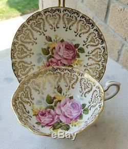 Paragon Pink Cabbage Roses Gold Gilt Wide Mouth B108 Pedestal Tea Cup and Saucer