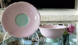 Paragon Pink Rose Handle Bone China Footed Tea Cup Saucer Pink Vintage NO BOX