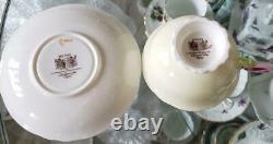 Paragon Pink Rose Handle Bone China Footed Tea Cup Saucer Yellow Vintage NO BOX