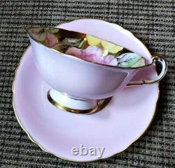 Paragon Pink Teacup & Saucer Floating Three Pansies on Heavy Gold Bowl