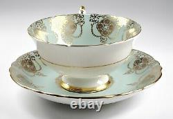 Paragon Porcelain Tea Cup & Saucer Gold Teal Medallion Center (A) RARE