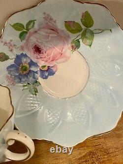 Paragon RARE Bone China Teacup Celadon Green Large Floating Cabbage Rose RARE