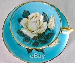 Paragon SCARCE Fancy Turquoise Humongous White Rose Fine Bone China Cup & Saucer