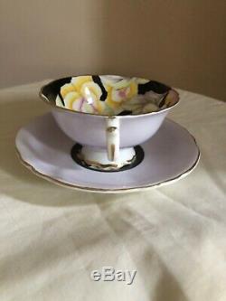 Paragon Tea Cup Saucer Black Lavender Large Floral