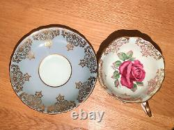 Paragon Tea Cup & Saucer. Green Large Red Cabbage Rose. England Fine Bone China