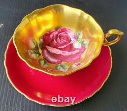 Paragon Vintage Teacup & Saucer Heavy Gold Floating Cabbage Rose Double Warrant