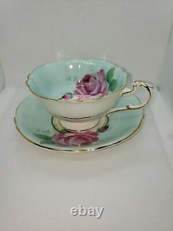 Paragon fine bone china tea cup saucer PALE BLUE With LARGE CABBAGE ROSE England
