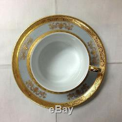 Philippe Deshouliers Orsay Powder Blue Teacup & Saucer Limoges France New