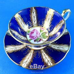 Pink Rose Center with Electric Blue & Gold Panel Paragon Tea Cup & Saucer