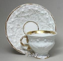 RARE Antique Large MEISSEN WHITE TEA CUP & SAUCER SET with Beautiful Relief