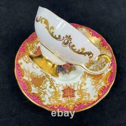RARE Aynsley Bailey Signed Cabbage Rose Hanging Grapes Red Pedestal Cup Saucer