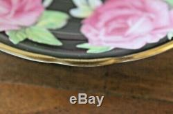 RARE Aynsley Black Cabbage Rose Teacup Tea Cup Saucer Pink Gold Gilded floating