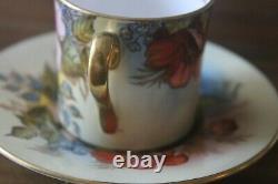 RARE Aynsley J A Bailey Cabbage Rose Bouquet Demitasse Teacup Tea Cup Saucer
