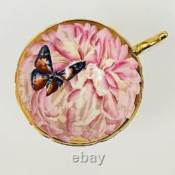 RARE Aynsley Pink Chrysanthemum & Butterfly Gold Tea Cup & Saucer England HTF