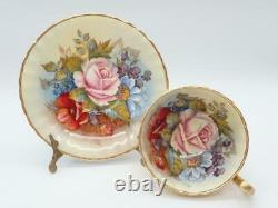 RARE Aynsley Tea Cup & Saucer Signed Bailey Gold Doris Shape Cabbage Rose Floral