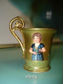 RARE Dresden ambrosius Richard Klemm coffee tea cup 3 portraits raise gilt gold