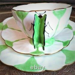 RARE Green & White Aynsley Butterfly handle Art Deco Teacup Saucer Side Plate