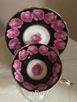 RARE Paragon Double Warrant Black Tea Cup Saucer Cabbage Rose