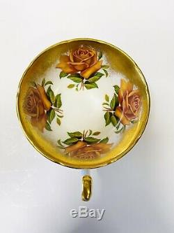 RARE Paragon Orange Cabbage Rose Heavy Gold Teacup Saucer AS IS