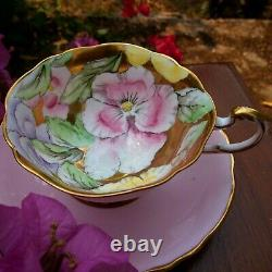 RARE Paragon Pink Teacup & Saucer Floating Three Pansies on Heavy Gold Bowl