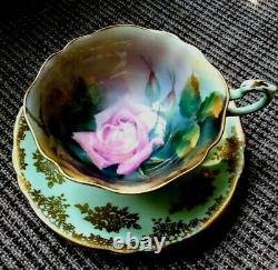 RARE Paragon Teacup & Saucer Pink Rose in the Mist Hand Painted by F Wright