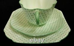 RARE Shelley Green with Stars and Dots Pattern Dainty Shape EXCELLENT