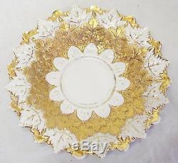 RARE c1800-1820s MEISSEN GERMANY Oak Leaf China GOLD LEAF TEA CUP & SAUCER