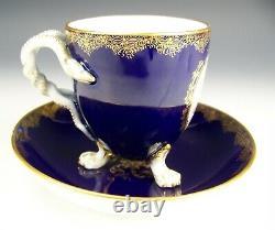 Rare 1st Quality Meissen Hand Painted Cherubs Snake Handle Tea Cup & Saucer