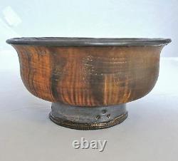 Rare 4.4 Antique Tibetan Jha Phor / Tsampa Wood Tea Bowl or Cup with Metal Liner