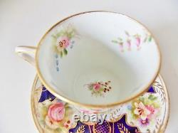 Rare Antique Longton English Hand Painted Cobalt Cup And Saucer Pink Roses Gold