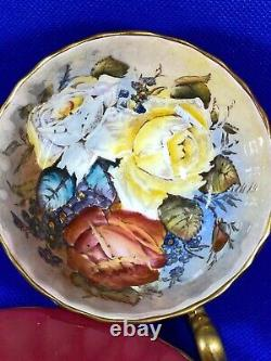 Rare Aynsley Burgandy Teacup & Saucer Triple Cabbage Roses Signed J A Bailey