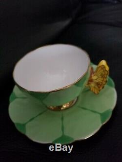 Rare! Aynsley Flower Design Butterfly Handle Cup And Saucer Set-green