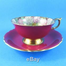 Rare Deep Red with Hydrangeas on Speckled Gold Interior Paragon Tea Cup & Saucer
