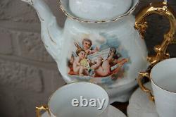 Rare French antique porcelain putti angel coffee milk sugar tea cups set