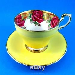 Rare Huge Rose Border on Gold with Yellow Exterior Paragon Tea Cup and Saucer