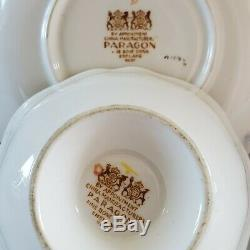 Rare PARAGON Tea Cup & Saucer Rose Garland Light Mint Green Heavy Gold England
