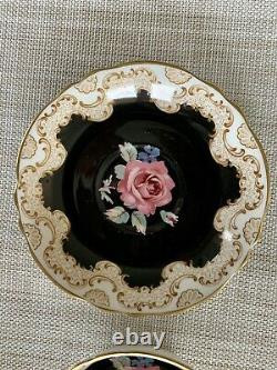 Rare Paragon CUP & SAUCER Floating Rose On Black, Victoria
