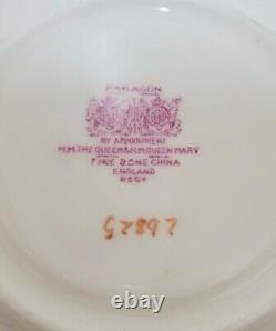 Rare Paragon Double Warrant Pastel Peach Mint Green Rose Handle Tea Cup & Saucer