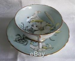 Rare Paragon Easter Lily Teacup & Saucer Set Blue