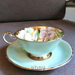 Rare Paragon Heavy Gold Green Teacup & Saucer Floating Three Pansy Flowers
