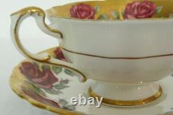 Rare Paragon Pink Red Cabbage Rose Gilded Gold Footed Cup & Saucer