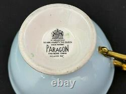 Rare Paragon Teacup And Saucer Floating Cabbage Rose, Blue With Heavy Gold Gilt