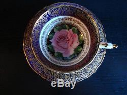 Rare Vintage Paragon 1950's Cobalt Tea Cup & Saucer with Huge Pink Rose & Gold