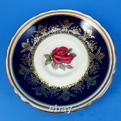 Red Rose Center with Cobalt & Gold Design Border Paragon Tea Cup and Saucer Set