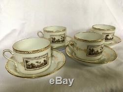 Richard Ginori Fiesole Set/ 4 Teacups & Saucers