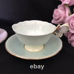 Rose Handle Lavender & Butterfly Green Paragon Tea Cups Display only