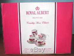 Royal Albert COUNTRY ROSE CHINTZ TEA SET 9 Piece Teapot 4 Cups & 4 Saucers New